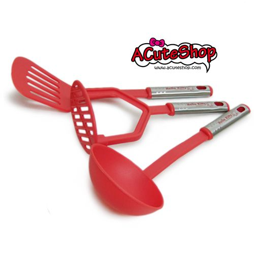 Hello Kitty Cooking Utensils Set Ladle, Masher Red